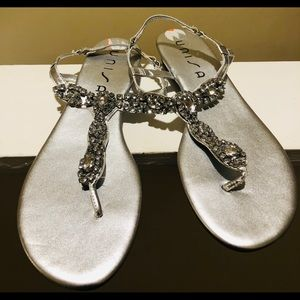 Unisa Silver Jeweled Sandals Size 9.5